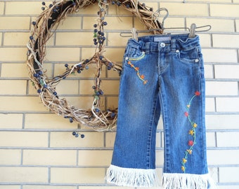 SALE Up-cycled little girls hand embroidered fringed Levi hippie jeans size 2 T