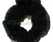 Black Velvet Hair Scrunchie With Grey Seedbead Accents - Fancy Beaded Scrunchie for Thick Hair - Great Hair Accessory for Bridesmaids