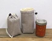Mason Jar Carrier Bag - Pint Single Jars to Go blue ticking stripe mason jar pouch carrier cozy