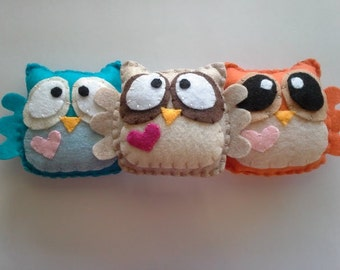 Felt Plush Owls -your choice of two-
