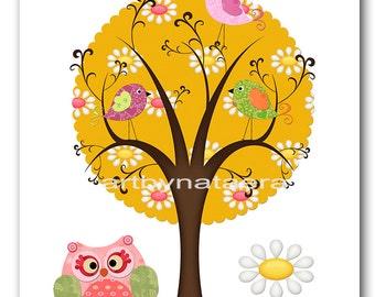 Baby Print Kids Art Baby Girl Room Decor Art for Children Kid Wall Art Baby Girl Nursery print owl tree kids owl decoration yellow pink