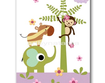 Kids room decor nursery wall art Children room decor Kids Wall Art children wall art kids art print 8x10 Playroom monkey elephant purple