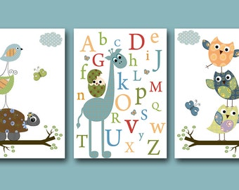 Art for Children Kids Wall Art Baby BOY Room Decor Baby Nursery Decor Baby Boy Nursery Print set of 3 Nursery Alphabet Turtle Giraffe