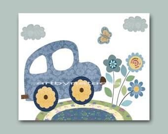 Nursery Art Print Children's Art Car Baby Boy nursery decor Baby Nursery print Baby Boy Art yellow car blue gray flower decoration