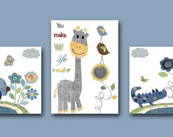 Art for Children Kid Wall Art Baby Boy Room Baby Boy Nursery Print Art set of 3 Kids Room Baby Art Car Giraffe Crocodile Blue Green Gray
