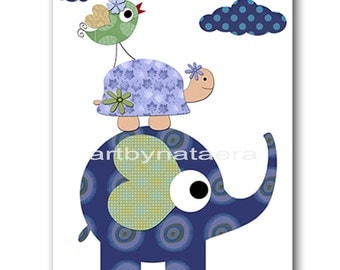 Elephant Nursery Baby Boy Nursery Decor Baby Nursery Print Children Art Print Nursery Print Boy Art Turtle Nursery Bird Blue Navy