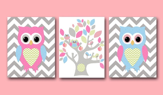 Owl wall art owl decor owl nursery baby girl nursery decor - Girl owl decor ...