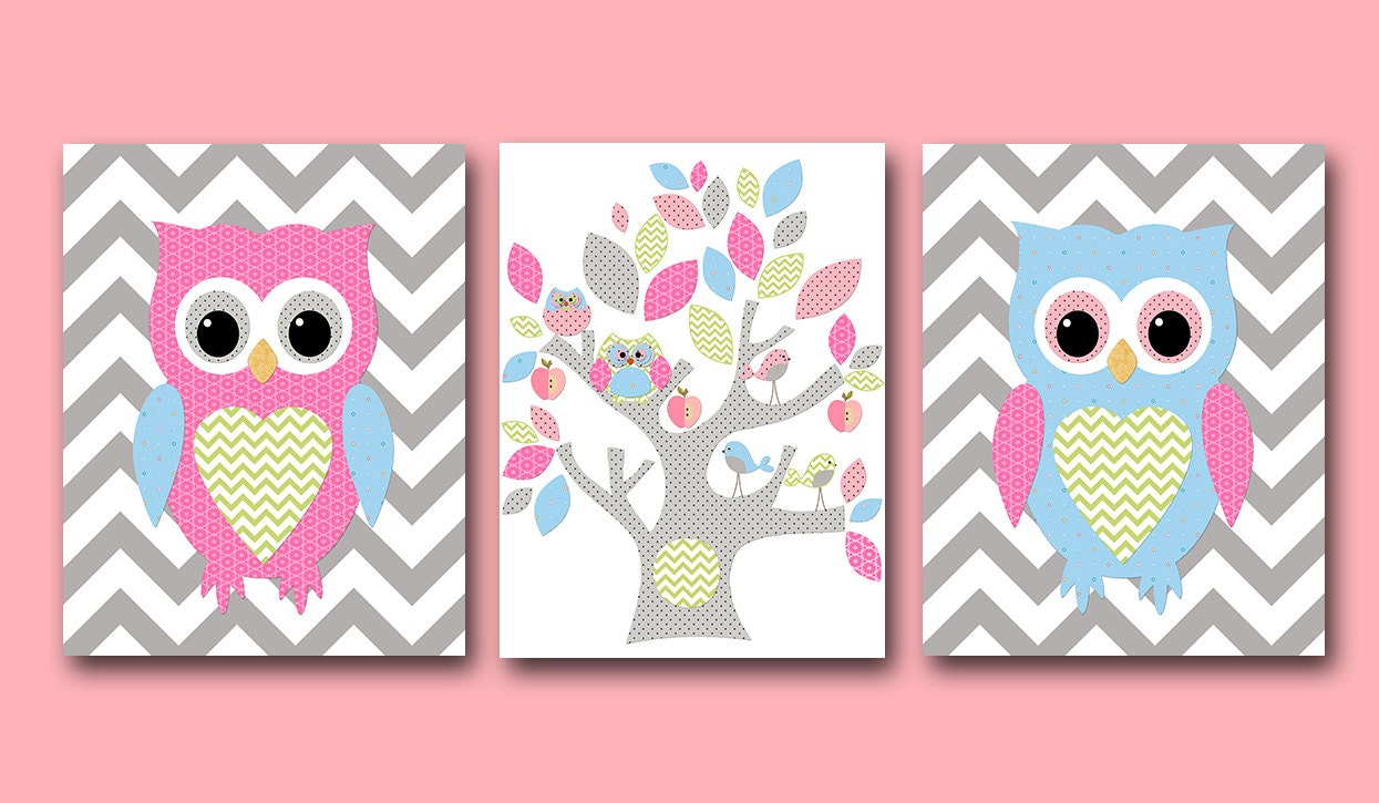owl wall art owl decor owl nursery baby girl nursery decor. Black Bedroom Furniture Sets. Home Design Ideas