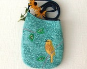 Small Quilted Shoulder Bag Purse with Yellow Warbler Bird Applique in Blue and Green