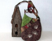 Small Shoulder Bag Quilted Fabric Purse with Embroidered Milkweed Seeds in Brown and Green