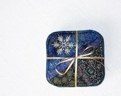 Set of 4 Crazy Quilt Coasters Embroidered with Snowflakes in Deep Blue with gold accents, Handmade Hostess gift under 25 dollars