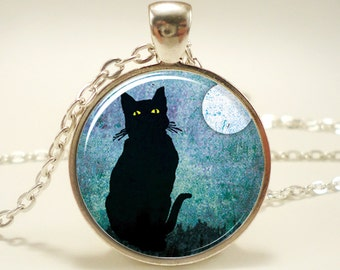 Black Cat Necklace, Halloween Jewelry (0877S1IN)
