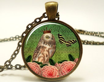 Owl Necklace, Vintage Style Jewelry, Bronze Woodland Pendant (0919B1IN)