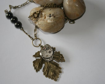 Steampunk Watch Necklace - Maple Leaf Steampunk Necklace - Time for Autumn
