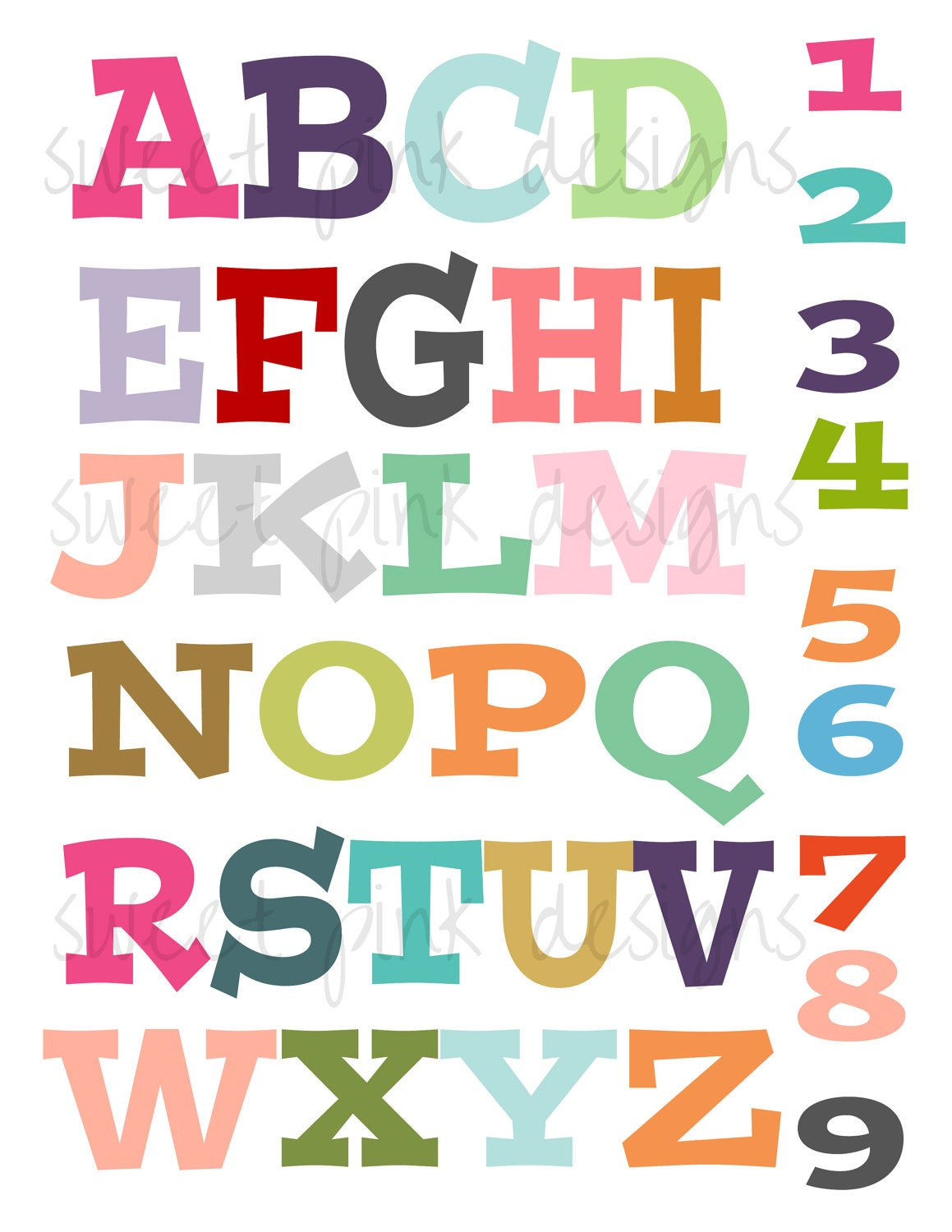 Letters And Numbers Print By Sweetpinkdesigns On Etsy