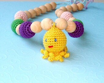 Babywearing necklace,Octopus toy,Nursing Necklace,Teething Necklace,Wrap Baby Carrier,Wooden toy,chewing beads,toddler jewelry,