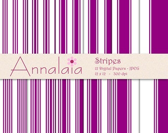 Digital Paper Pack: Purple and White Stripes Digital 12x12 8,5x11 Digital Scrapbook Paper Commercial Use Instant Download 265