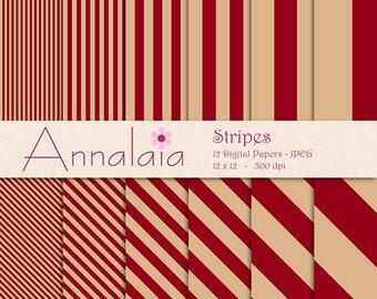 INSTANT DOWNLOAD Digital Paper Pack: Burgundy Maroon Tan Vertical Diagonal Stripes Lines 12x12 8,5x11 Digital Scrapbook Paper 271