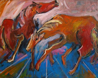 Large oil Painting Modern Original Art Abstract Portrait HORSES