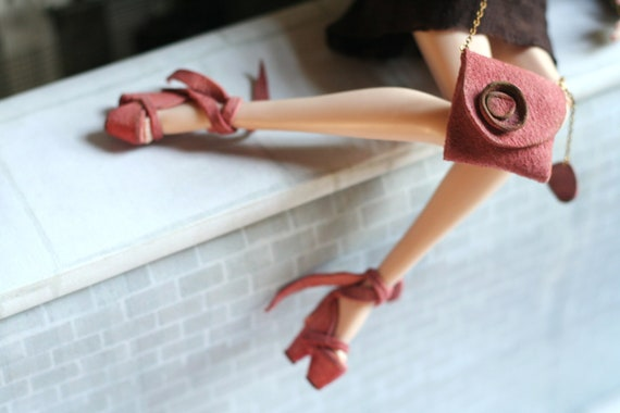 fashion royalty dusty pink real leather shoes bag