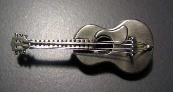 Cool Vintage BEAU Sterling Silver ACOUSTIC GUITAR Brooch with Satin Finish