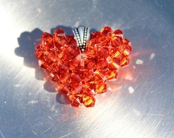 Burnt Sienna, Indian Red Swarovski Crystal Heart, Burnt Orange Color Heart, Floating Necklace, Orange-Red Charm, Handmade Heart Pendant