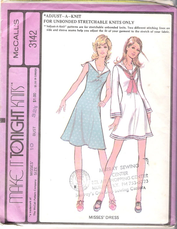Vintage 1972 McCalls 3142 Sailor Collar Fit and Flare Dress Size 10 Bust 32 1/2  UNCUT