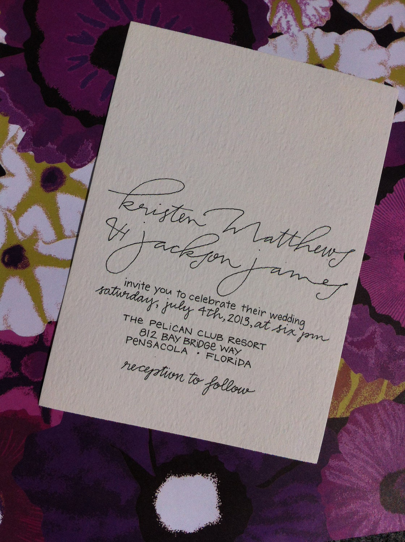 Simple Wedding Invitation Calligraphy Custom Modern