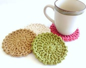 Crochet Coasters - Cotton Coasters - Coaster Set - Housewares - Coaster
