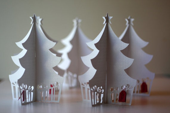 3D Flat-folding Christmas Tree Holiday Card By HUSHandHONEY