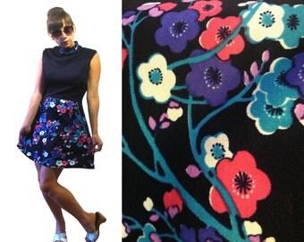 Mod Navy Blue and Floral Mock Turtleneck Sleeveless High Waist Mini Shift Dress Size XS-S