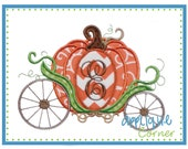 749 Halloween and Thanksgiving Pumpkin Carriage just like Cinderella applique digital design for embroidery machine by Applique Corner
