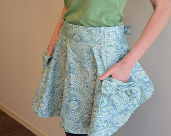 Modern baking half apron in turquoise blue and lime green