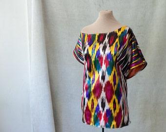 ikat silk top designer silk tunic fall fashion ethnic tribal boho pure silk assymetrical top Uzbek autumn trends unique silk blouse bold