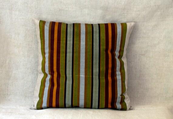 Silk Pillow Covers, Ethnic Uzbek Fabric, 18X18, Woodland, Set of Two