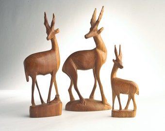 Mid-Century wooden antelope gazelle carvings