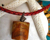 """Antique Tan Braided Leather Necklace with Crazy Jasper & Copper Charm  """"FREE SHIPPING"""""""
