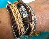 """Boho Natural Leather Wrap Bracelet with Silver Accents... Magnetic Clasp ...""""FREE SHIPPING"""""""