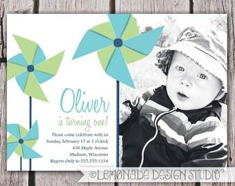 Pinwheel Invitation - Pinwheel Birthday Invitiation - Baby First Birthday - Second Birthday - ANY Age ANY Colors - Photo Invitation