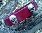 """cool custom made genuine leather small dog collar 1/2"""" strap with skulls"""