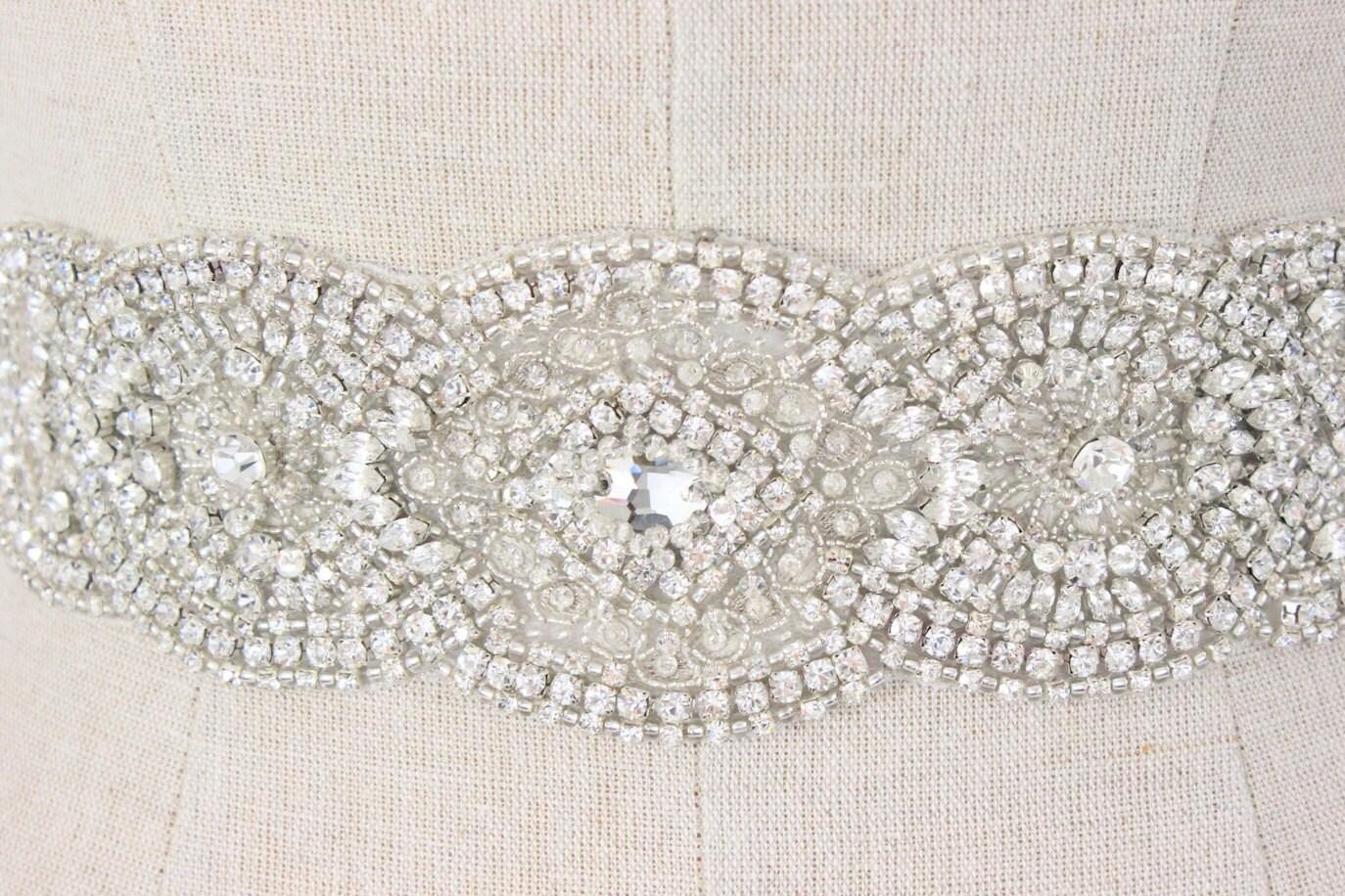 Wedding applique beaded bridal trim rhinestone by for Wedding dress trim beading