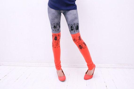 Asphalt & corals-  stocking leggings