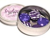 FRIDGE JEWELRY: Set of FIVE Purple Print Magnets in Reuseable Container