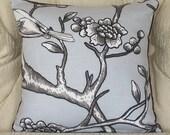 Blue Bird Pillow- Bird on Branch With Purple Velvet Pillow Cover, Dwell Studio