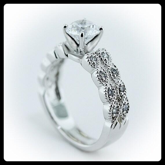 Moissanite Vintage Engagement Ring Diamond Side Stones Name Twisted Twice