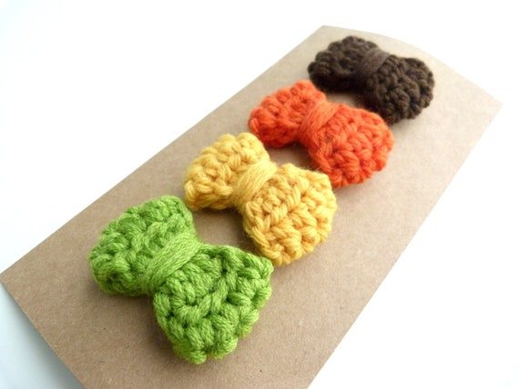 Set of 4--Mini Bow Clips--Crochet bows--Snap clip--No slip grip--Baby & Girls hair accessories--Fall Colors