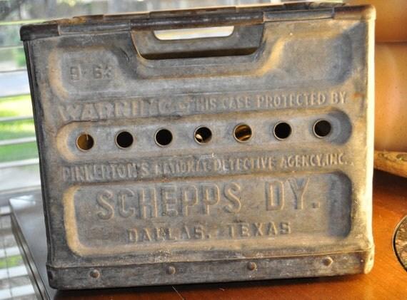 Schepps Dairy Dallas Texas Vintage Metal Milk Crate By Tumptover
