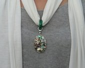 Chakra Healing Shell, Abalone and Agate (Pendant only) scarf not included.