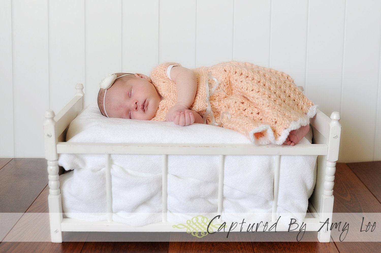 Beautiful Crochet Baby Dress Newborn Peaches and Cream Baby
