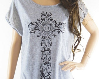 Christian Cross Art Design Bat Sleeve Women Shirt Gray Short Sleeve Gray Shirts Screen Print Size M